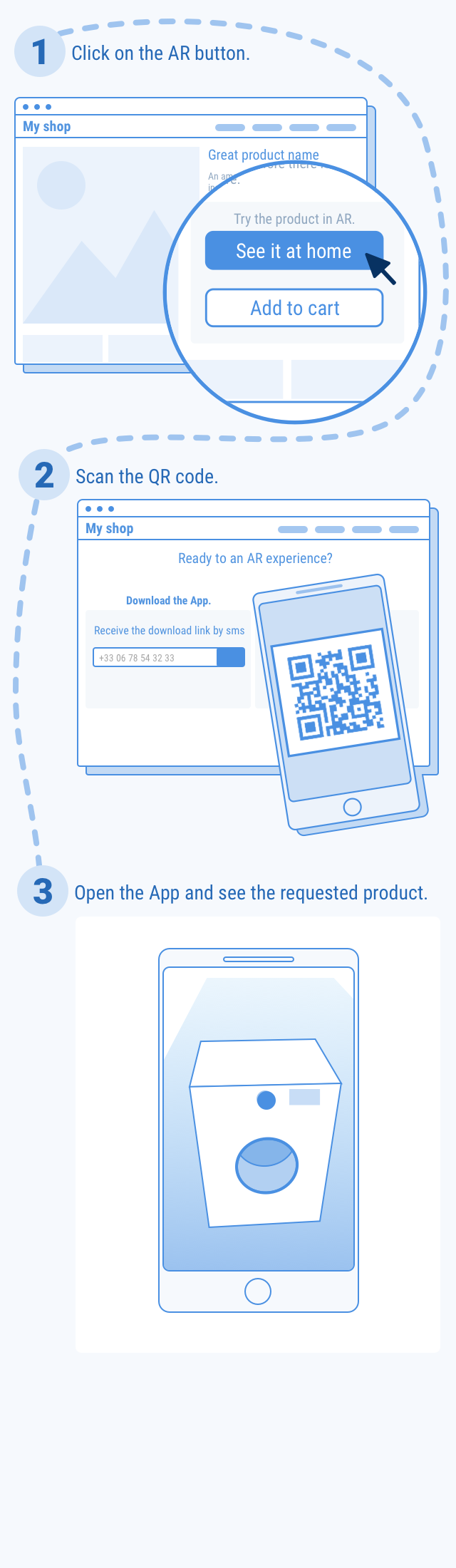 the same user flow with the Augment app installed on the user's smartphone.